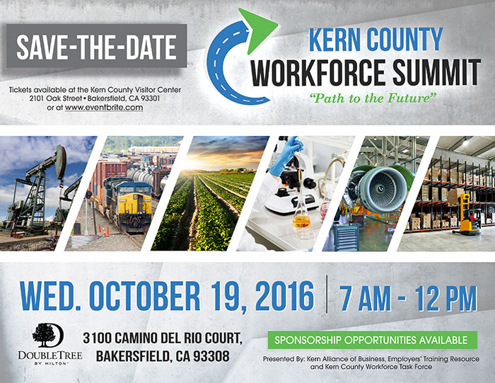 Save the Date: Kern County Workforce Summit - Wednesday, October 19, 2016 7 AM - 12 PM
